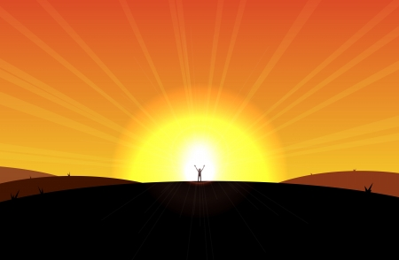 serenity: Man standing in front of the rising sun, appear liberated or sort