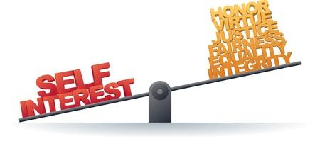egoista: Escala favorecer su propio inter�s en lugar de los valores personales Vectores