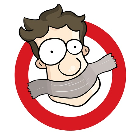 Een man duct-tape te wijten aan overmatig spraakzame gedrag Zijn annoyingness is nu verboden Stock Illustratie