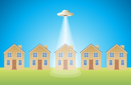 House singled out by an alien craft Stock Vector - 14716868