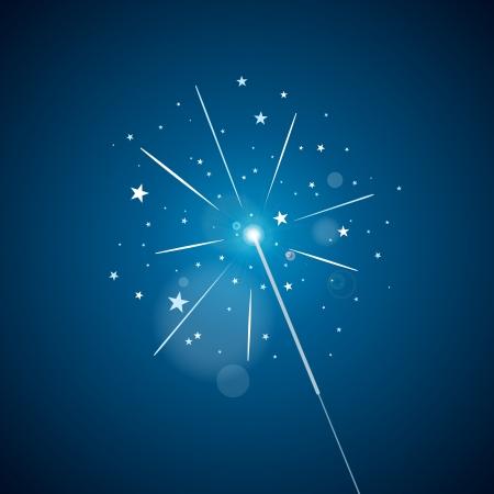 White sparkler on a blue gradient background.