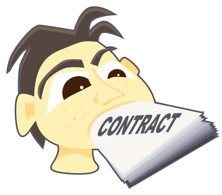 compel: Hapless man with his mouth stuffed with contract papers