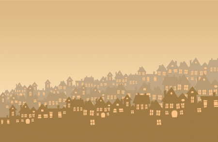 Dense suburb on in brown setting  Vector