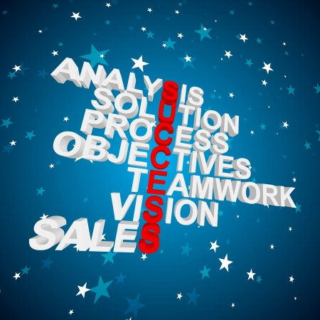 3D words of analysis, solution, process, objectives, teamwork, vision, and sales as success formula  Vector