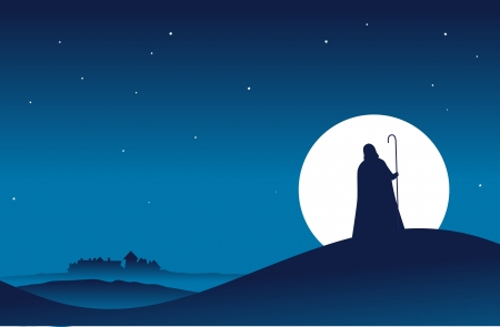 Guy in hooded cloak with a stick walking to a village in the night  Vector