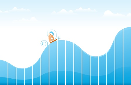 Ship sailing on tumultuous ocean made of blue graphic to illustrate ups and downs of life, or business, or whatever you can think of  Vector