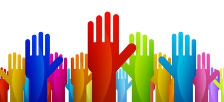 Kleurrijke handen uiting geven aan hun stem of beslissing Stockfoto - 14717053