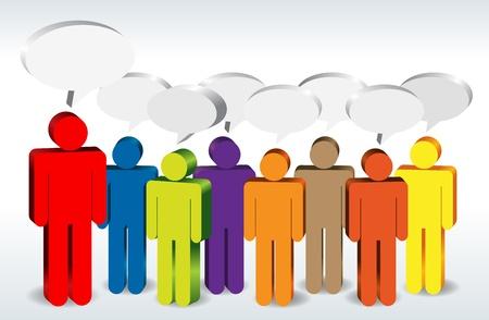 Verschillende kleurrijke figuren met elkaar praten.