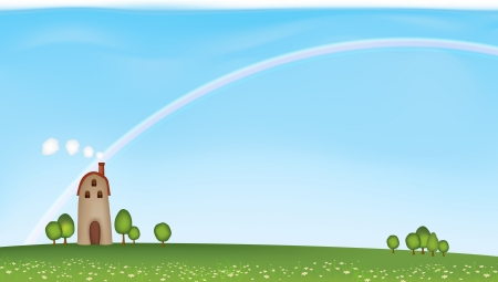 blissful: Lone tall house in the large grass and flower field, with rainbow in the blue sky