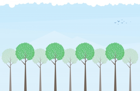 mountainous: Lines of trees on a mountainous background