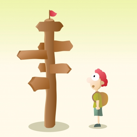 Young kid confused with a blank road sign  Vector
