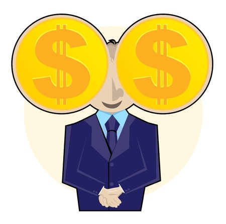 Smiling businessman with gold dollar coins as his eyes. Stock Vector - 14836614