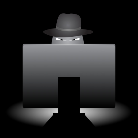 Evil looking hacker with hat doing stuff with his computer.