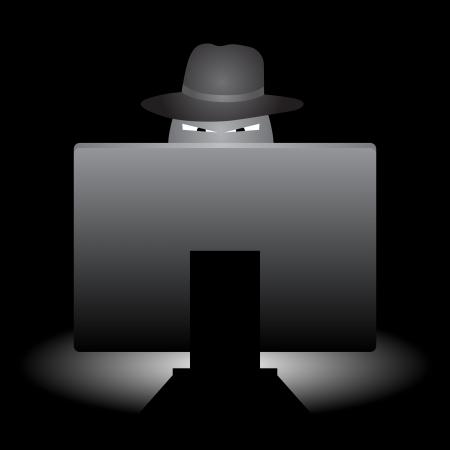 Evil op zoek hacker met hoed dingen doen met zijn computer. Stockfoto - 14836617