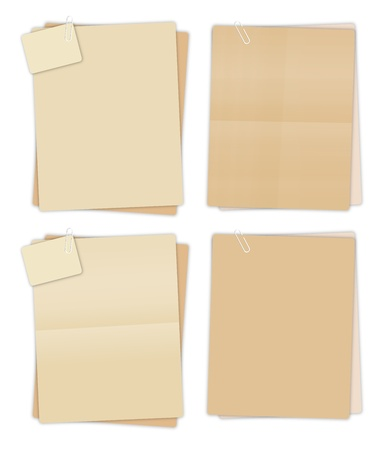note paper: Collection of vector brown recycled paper settings. Illustration