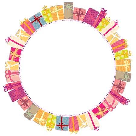 christmas present: Circle frame of various colorful gift wrappings.