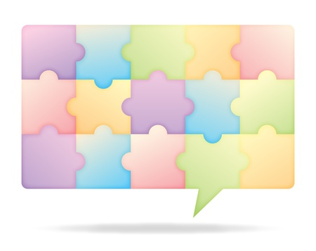 chat bubble: Puzzle looking chat bubble of various colors, illustrating teamwork and united voices.