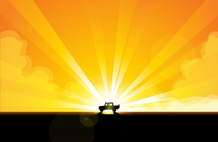 off road: Offroad trail car speeding through the scorching desert. Illustration