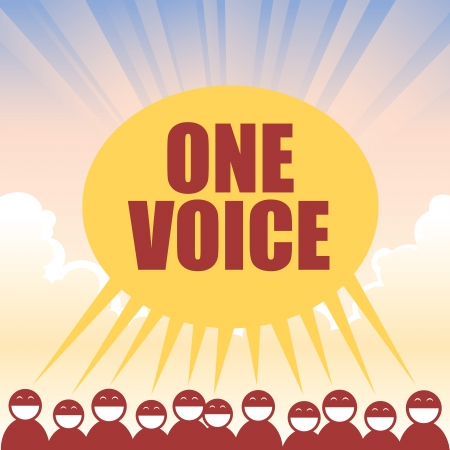 oneness: Several figures declaring one voice in unison. Illustration