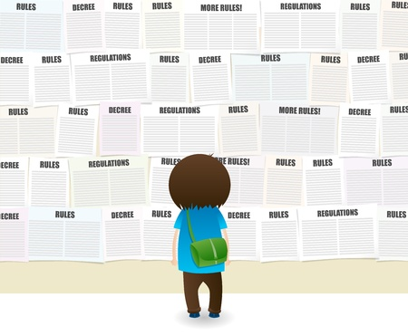 dictatorship: Student looking at a school wall full of rules and regulations notes. Illustration