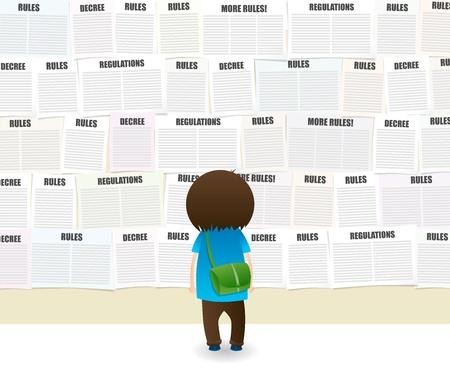 dictatorial: Studente guardando un muro scuola piena di regole e note regolamenti.
