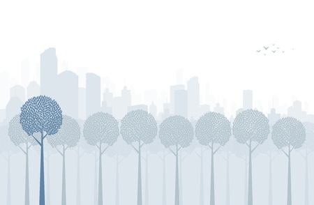 footer: Lines of trees in a park inside a big city. Illustration