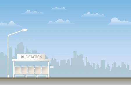 Illustration of a bus station in the city  Ilustração