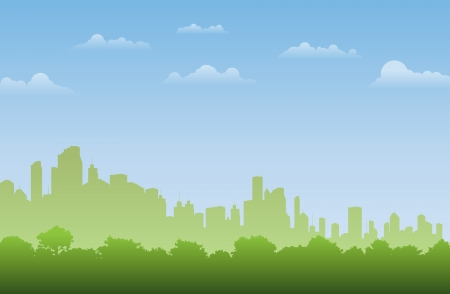 Background of green forest silhouette in the city  Stock Vector - 15205420