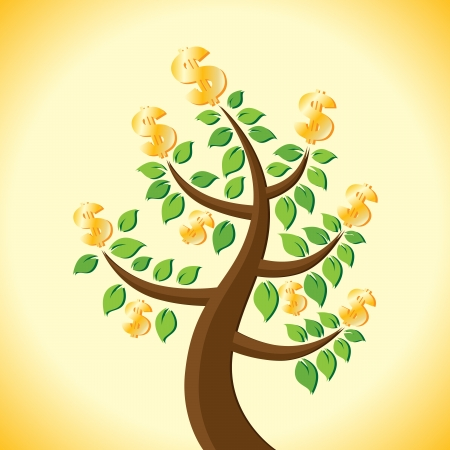 Mature tree with its harvest of golden dollars Stock Vector - 15205407