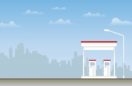 refuel: Illustration of a gas station in the city
