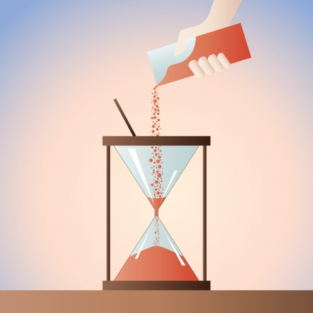 sand timer: Hand pouring additional time sand into the sand timer  Illustration