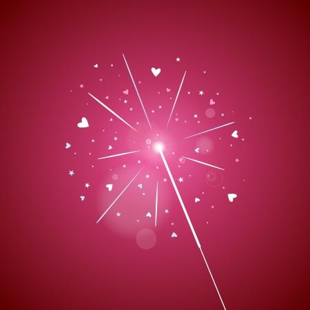 sparkler: Illustration of sparkling sparkler of love sparks