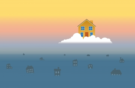 wrecked: One house on a cloud saved from the great flood that wrecked others  Illustration