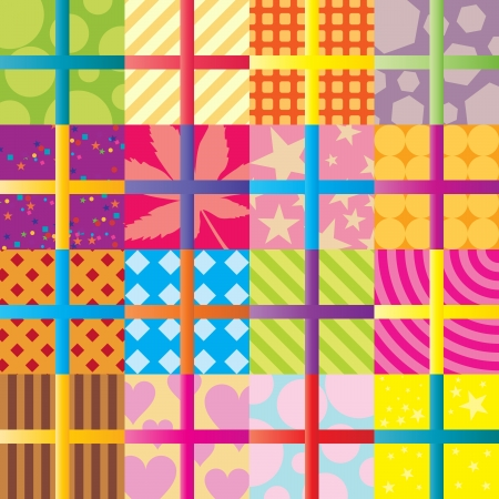 Seamless pattern of colorful gift wrappings  Stock Illustratie