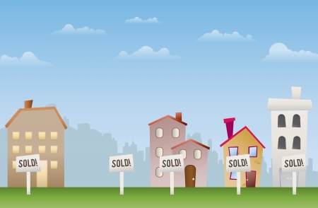 Illustration of sold properties  Even the empty lot is no longer available Stock Vector - 15205430