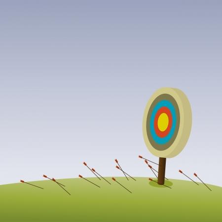 doelstelling: Alle pijlen misten hun doel hel van een boogschutter