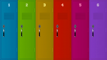 storage room: Illustration of six lockers of different colors. Illustration
