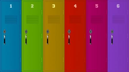 gym room: Ilustraci�n de seis casilleros de diferentes colores.