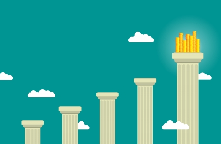 pillar: Ascending pillars with heaps of gold coins at the final one. Illustration