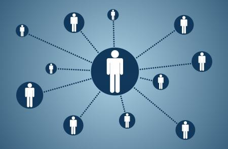 conectividade: Conceito de design e elemento de conectividade de pessoas Ilustração