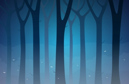Illustration of a dark forest full of unknown creatures  Vector