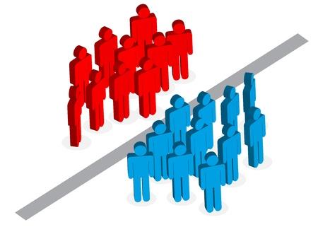 oposicion: Divisi�n de la tierra roja y azul grupo Vectores
