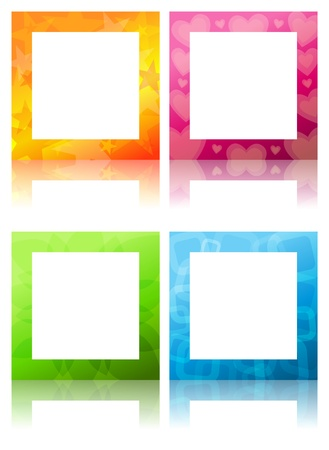 Four design settings of frame in various colors and patterns. Illustration