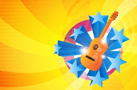 Illustration of music background with guitar and stars. Stock Vector - 14964955