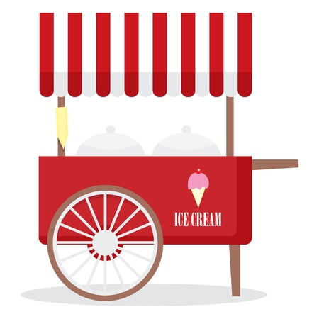 Illustration of ice cream cart isolated in white background. Ilustração