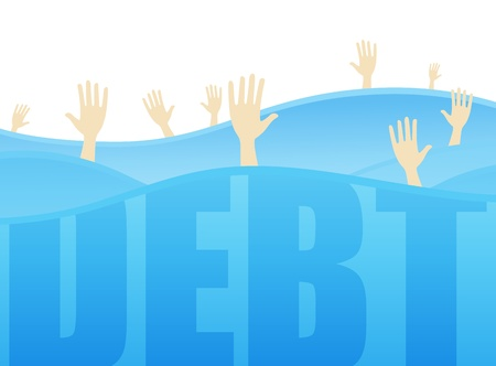 Several hands reaching for help while drowning in the ocean of debt.