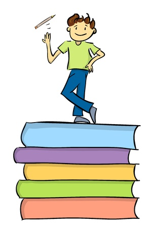 proficiency: One young boy playing with his pencil on top of thick books