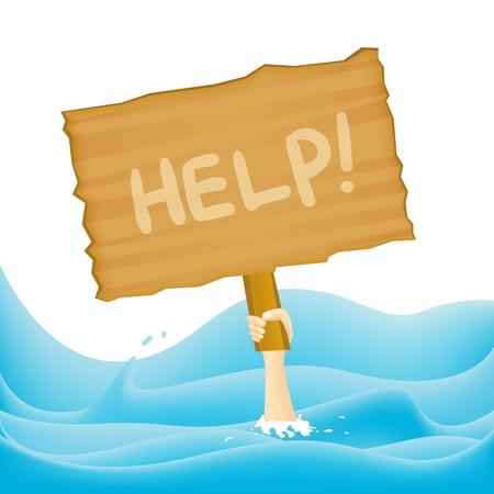 ahogarse: Una mano que sostiene un letrero solicitando ayuda