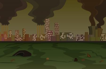 Toneel van een vuile, zwaar vervuilde stad