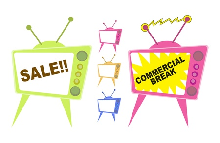 mass media: Vector illustration of television displaying sale advertisements